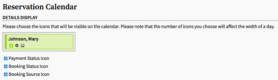 reservation calendar display settings page allowing business to choose status and source icons