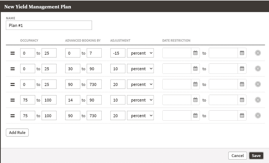screenshot of yield management plans page