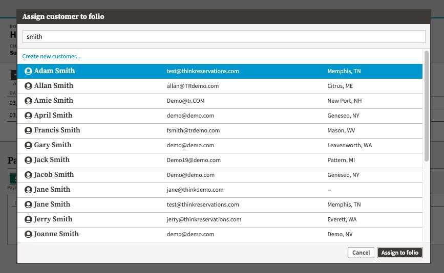 screenshot of modal with new customer search showing full list of matching customer names