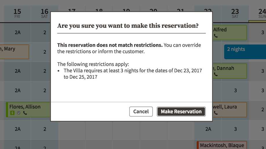 reservation calendar pop-up alerting user to confirm overriding minimum night restriction