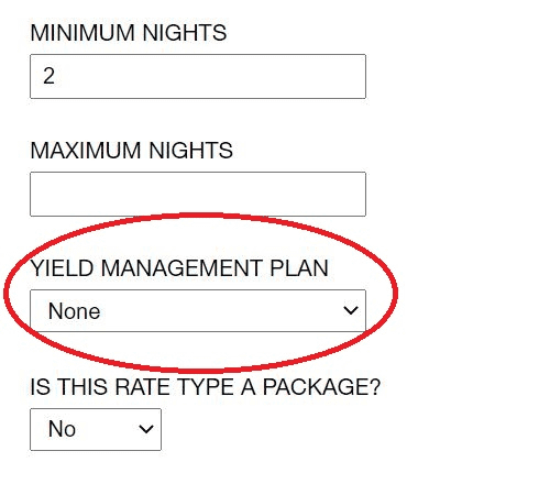 screenshot of yield management drop-down in rate settings