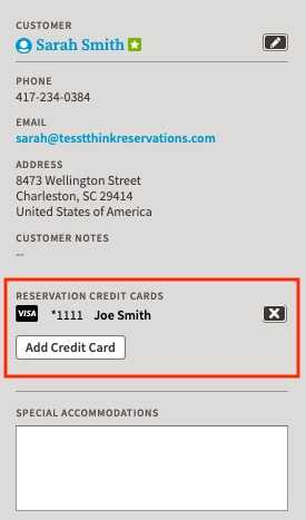screenshot of new reservations page showing customer details along with retained credit card information