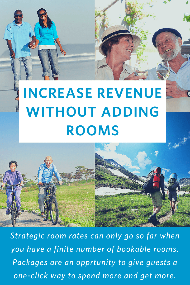 photos of people on a beach, wine tasting, riding bicycles, hiking in the mountains with text overlay: Increase revenue without adding rooms. Strategic room rates can only go so far when you have a finite number of bookable rooms. Packages are an opportunity to give guests a one-click way to spend more and get more.